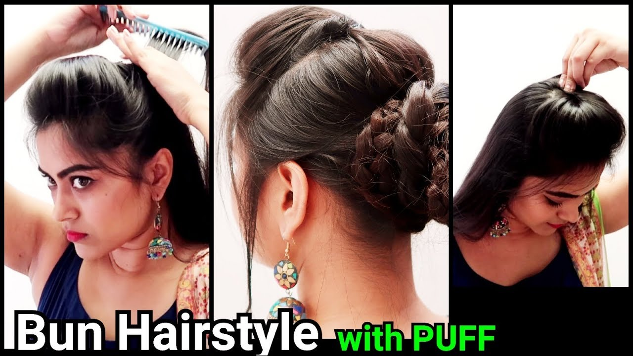 ethnic bun with puff hairstyle indian festive hairstyl