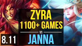 ZYRA vs JANNA (SUPPORT) ~ 1100+ games, KDA 13/3/17, Unstoppable ~ EUW Master ~ Patch 8.11
