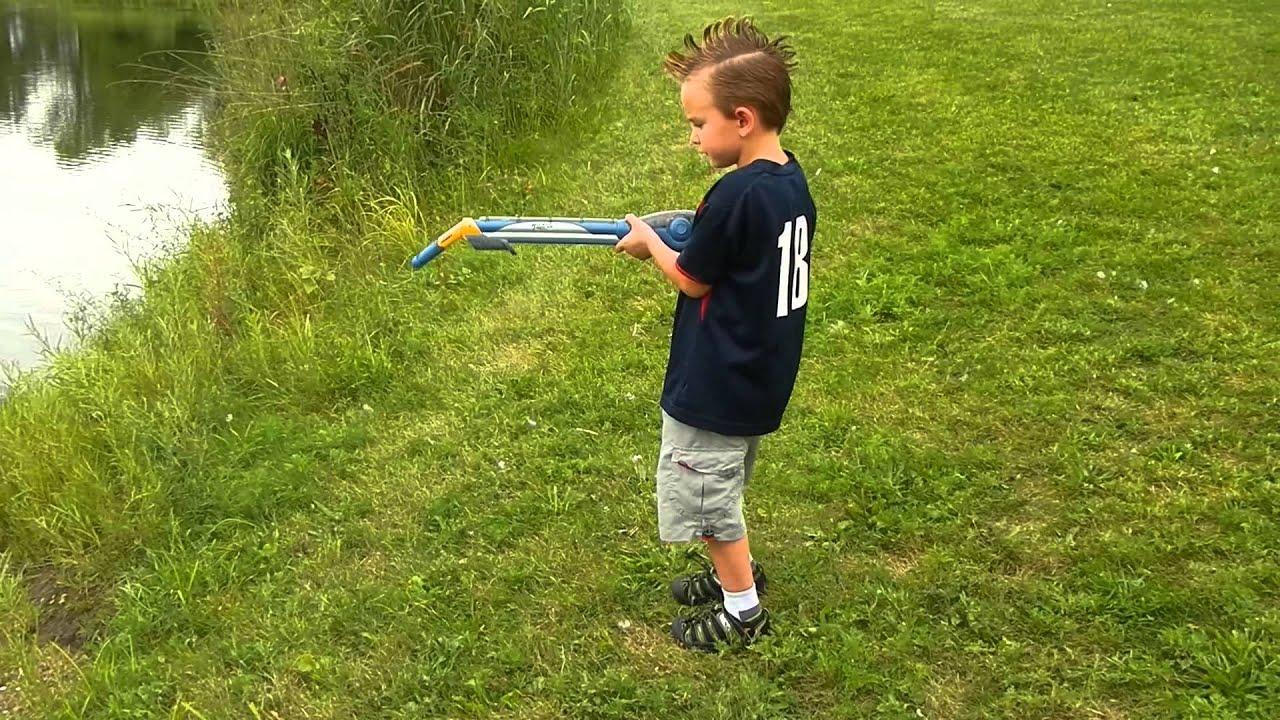 Gav having fun casting his fishing pole or shall i say for Shooting fishing rod