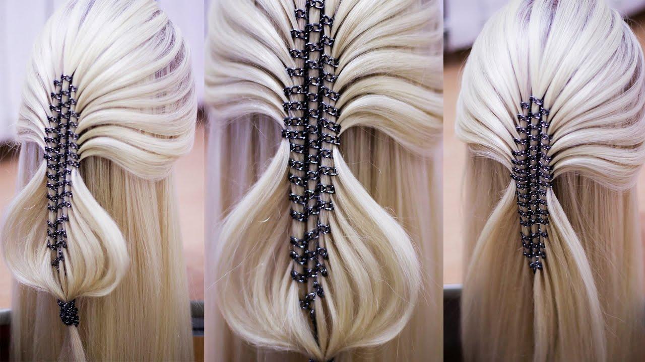 Коса с цепочкой Причёска из косы, павлинье перо Hair tutorial