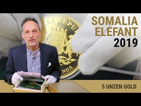 5 UNZEN GOLD - SOMALIA ELEFANT 2019 - POLIERTE PLATTE GOLDMÜNZE