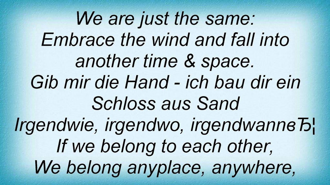 Nena - Anyplace Anywhere Anytime Lyrics | MetroLyrics