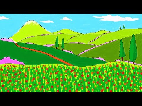 How to Draw A Scenery Landscape Art in MS Paint | Children Art in MS Paint | Learn MS Paint ComeTube