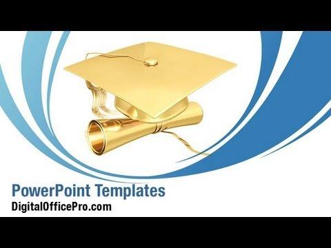 Gilded Graduation PowerPoint Template Backgrounds - DigitalOfficePro