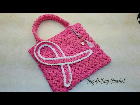 """Learn How To #Crochet """"Bag Of Hope"""" Breast Cancer Awareness Purse TUTORIAL #384 supersaver"""