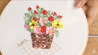 Bordado a mano: Como bordar una canasta de flores de Primavera