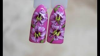 Орхидеи на ногтях/Как нарисовать орхидею/Роспись плоской кистью/Китайская роспись на ногтях