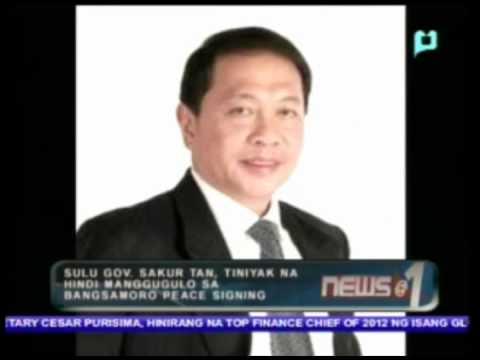 Sulu Gov. Sakur Tan, tiniyak na hindi manggugulo sa Bangsamoro peace signing