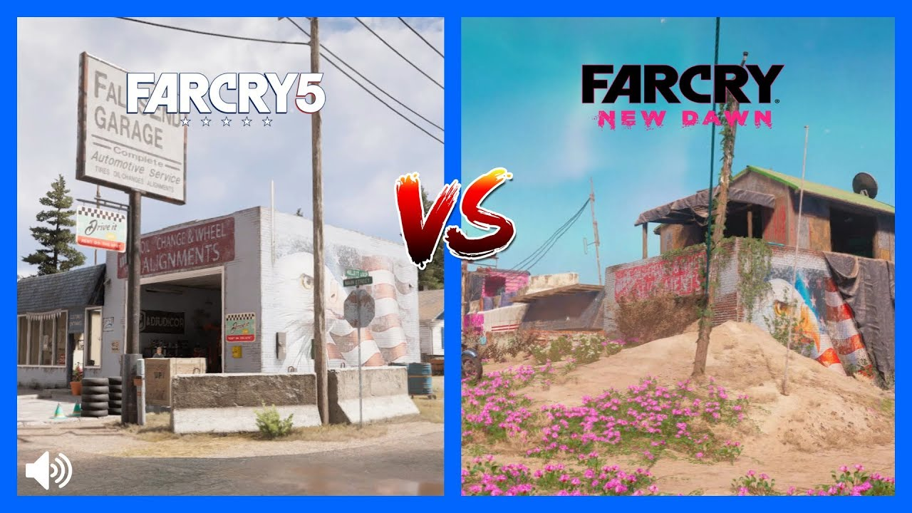 Far Cry New Dawn Vs Far Cry 5 Map Comparison Side By Side Youtube