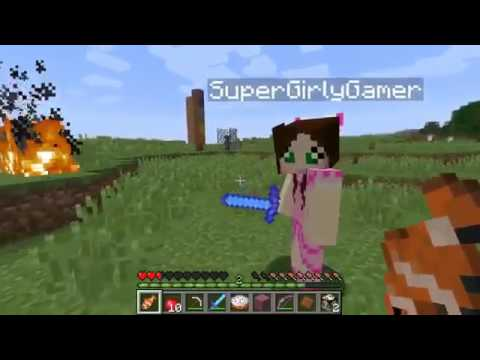 PopularMMOs Pat and Jen Minecraft CREEPY GIRL CHALLENGE GAMES Lucky Block Mod Modded Mini Game