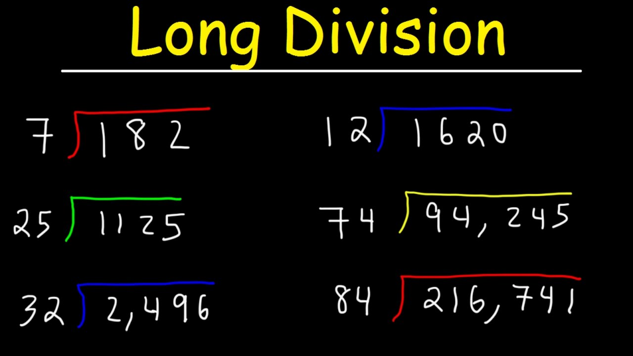Long Division Made Easy, Examples With Large Numbers, Youtube ...