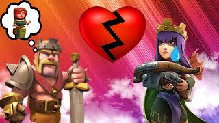 CLASH OF CLANS - BARBARIAN KING CHEATS ON THE ARCHER QUEEN! 3 SPELL CHALLENGE + FUNNY MOMENTS!