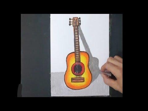 Cara gambar gitar | cara menggambar gitar | alat musik ...