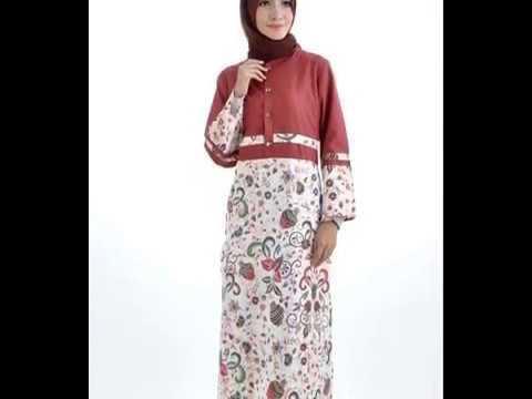 Model Baju Batik Muslim Kombinasi Kaos Terbaru 2017