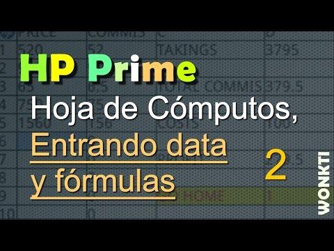 HP Prime - Hoja de Cómputos: Entrada de Data y Fórmulas