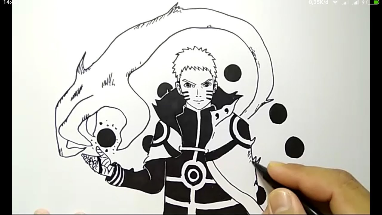 Cara menggambar naruto kyubi mode super gampang how to draw naruto