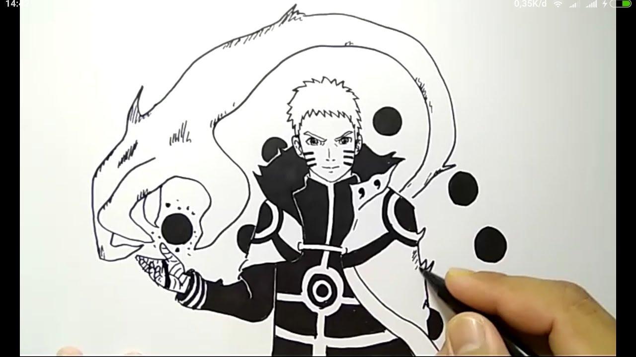 Cara menggambar naruto kyubi mode super gampang how to draw naruto easy way