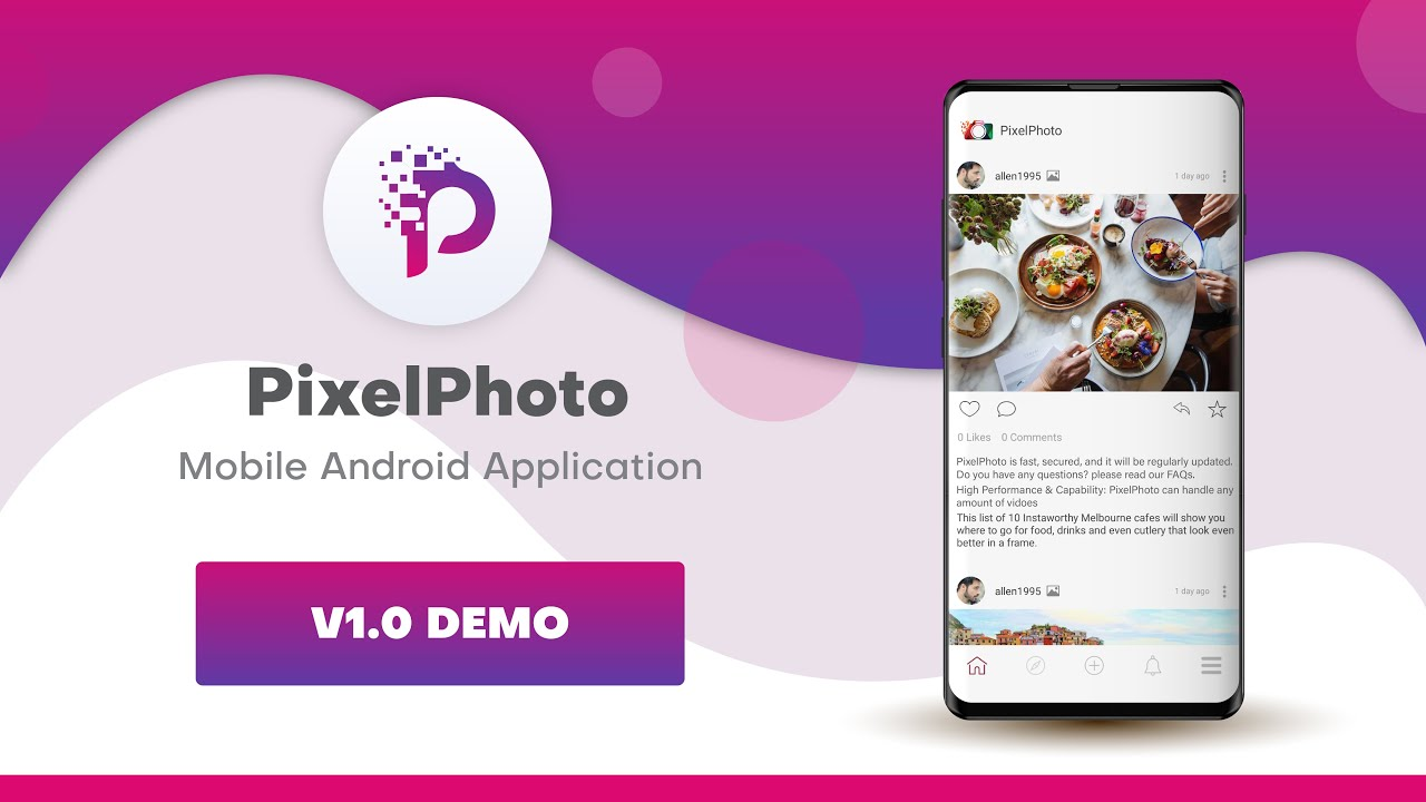 PixelPhoto Social image Sharing Android Application Demo v1.0.1 First Release