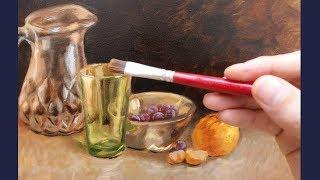 Pintura a óleo sobre tela vidro colorido parte 1