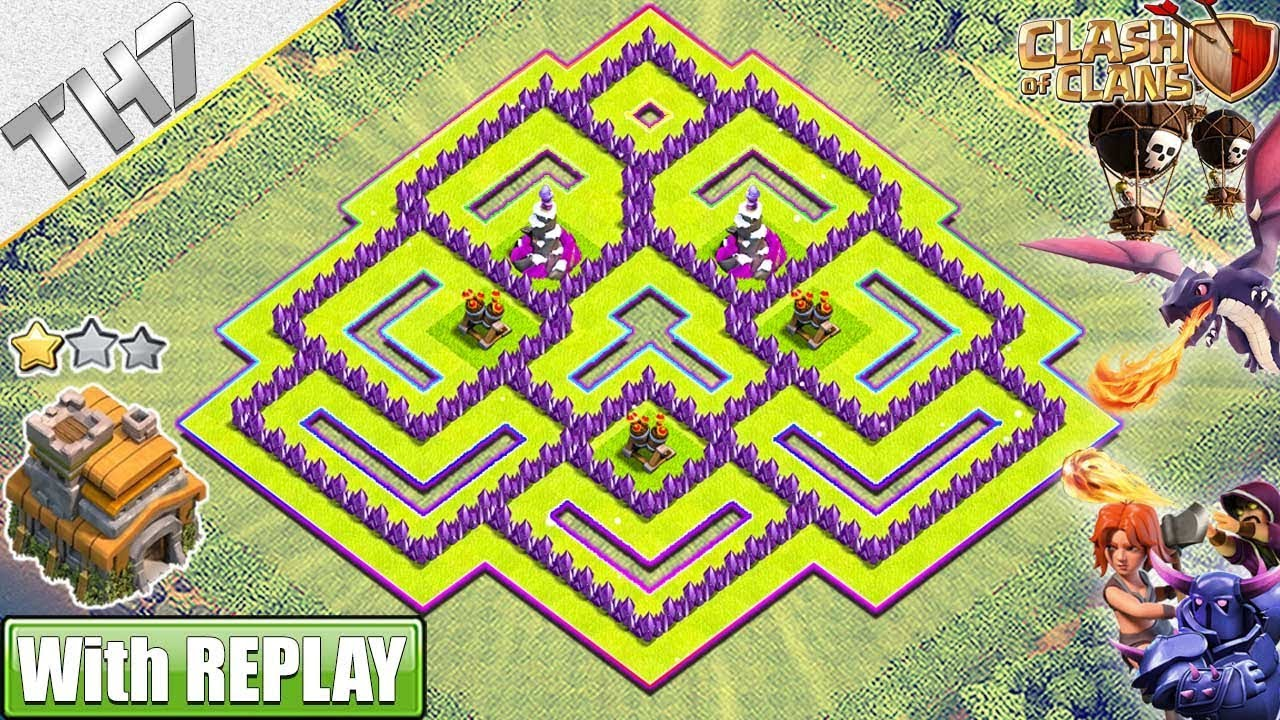 New Best Th7 Base Farming Trophy 2019 With Replay Town Hall 7 Base Anti Dragons Clash Of Clans Youtube