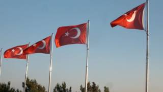 Gümüş Dalgalanan Türk Bayrağı Yaka Rozeti