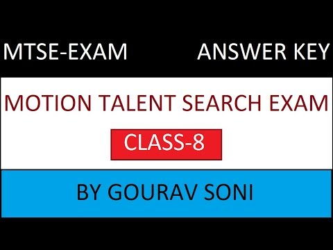MTSE CLASS 8TH ANSWER KEY || MOTION TALENT SEARCH EXAM 2018 || STUDY WITH VENOM thumbnail