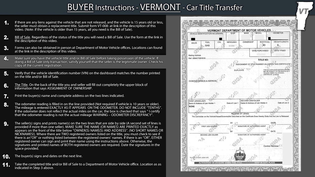 Vermont BUYER Title Transfer Instructions - YouTube
