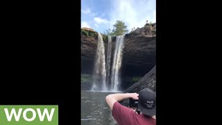 Insane 95ft double backflip off waterfall cliff