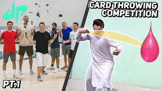 Card Throwing Competition with DUDE PERFECT   Pt. 1