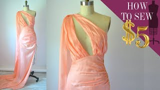 How To Sew Asymmetrical Deep V-Neck Cape Gown for $5 (Part 2 EP 06)