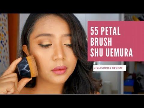 JIGLYCIOUS REVIEW unboxing : shu uemura petal 55 foundation brush , BELI JANGAN??