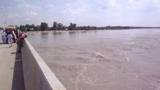Super flood water flowing from Sukkur Bypass Bridge
