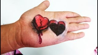 Drawing a 3D Heart Hole on Hand - Kaif Sketch