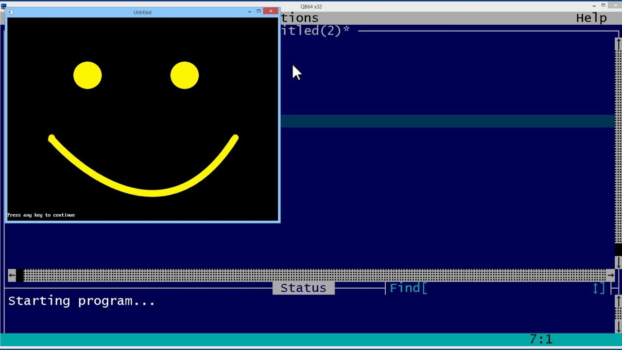 QBasic Tutorial 54 - Making QBasic Smile By Drawing A Face - QB64