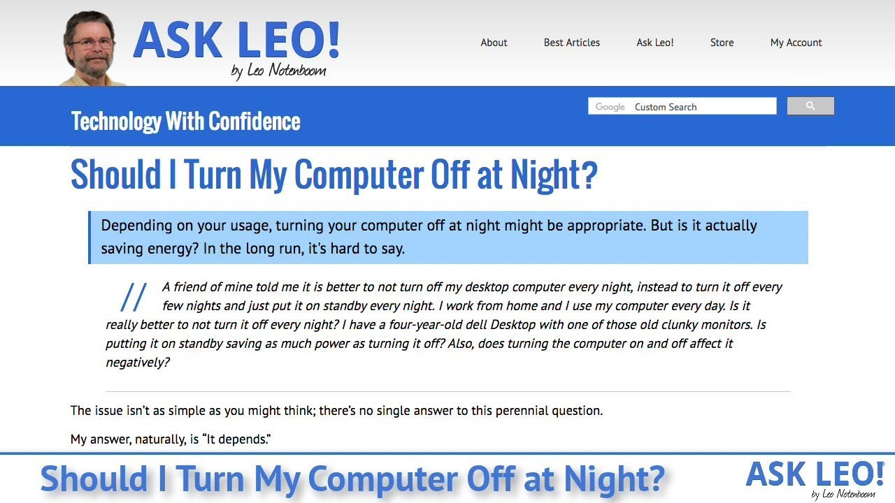 Should I Turn My Computer Off at Night? - Ask Leo!