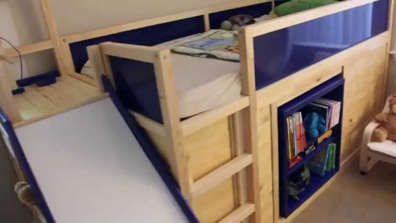 ikea hack - kura bed with slide and secret room - youtube