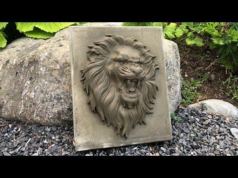 Making a mold for a concrete lion.