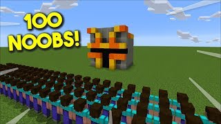 Minecraft 100 NOOBS ATTACK MY SECRET MC NAVEED BASE !! FIGHT WITH OUR ZOMBIE !! Minecraft