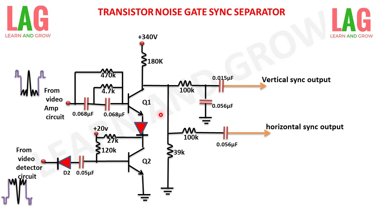 Transistor Noise Gate Sync Separator ह न द Learn And Grow
