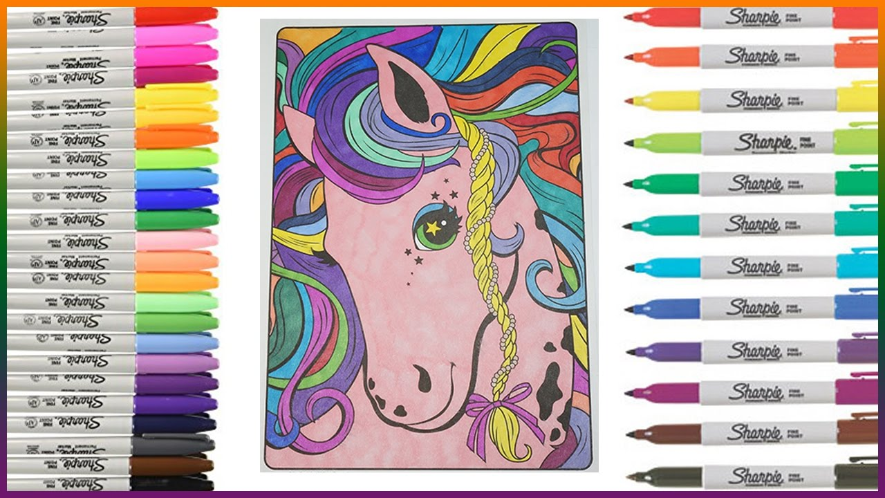 Lisa Frank Coloring Book - Rainbow Horse - Lets Color - YouTube