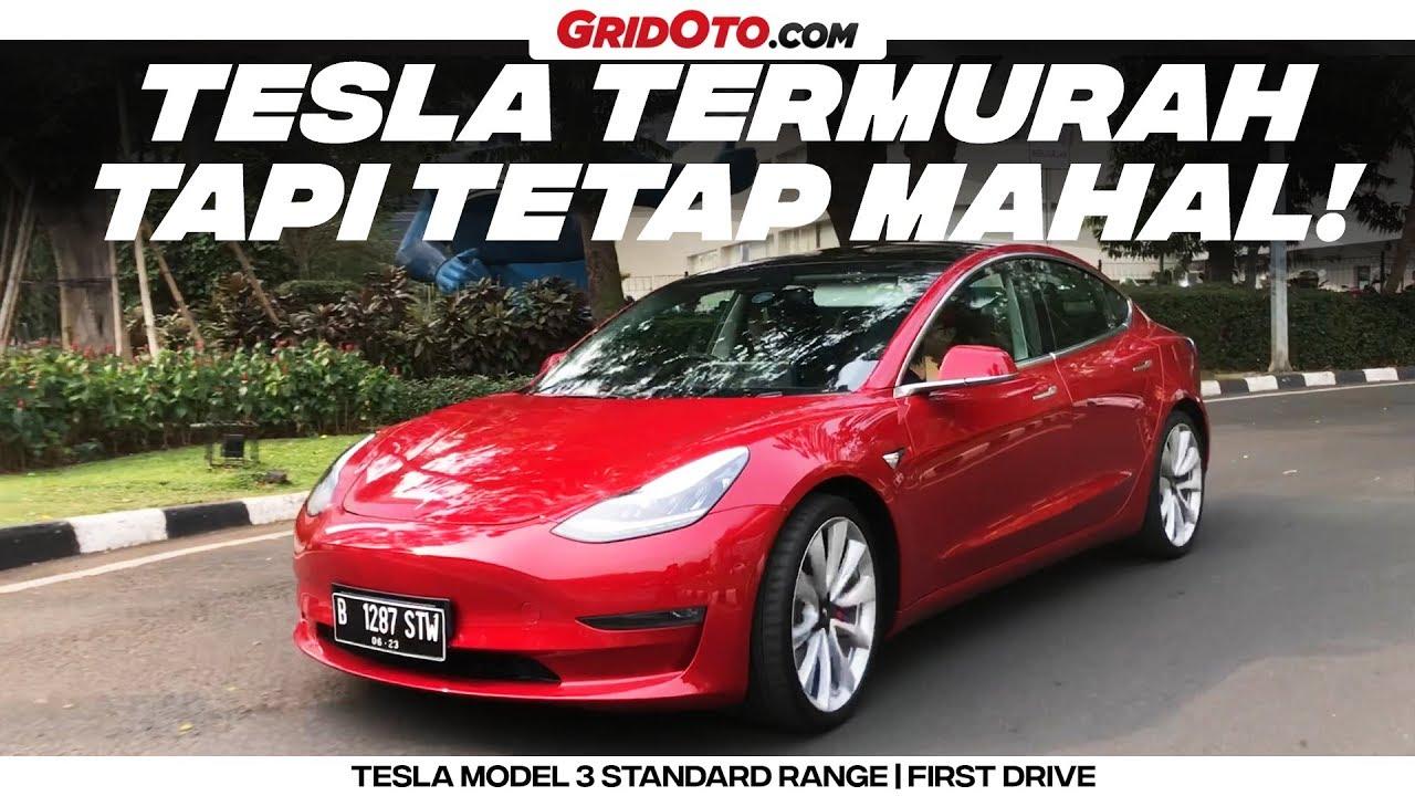 Tesla Model 3 Varian Entry Level Dari Tesla First Drive Gridoto Youtube