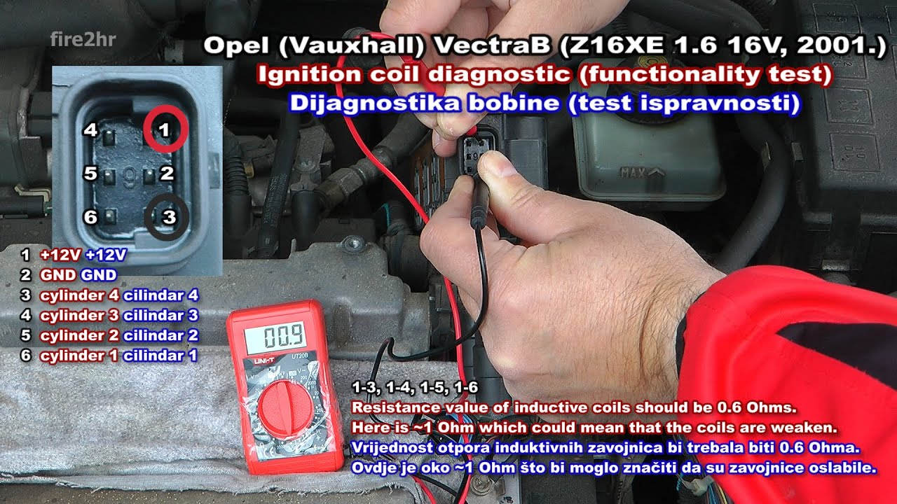 opel (vauxhall) vectrab (z16xe 1 6 16v)-ignition coil diagnostic  (functionality test)