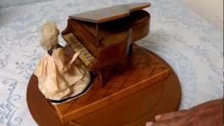 Musical Automaton Victorian Lady playing Grand Piano Reuge movement 2 songs 50 notes