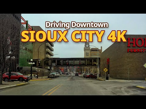 Sioux City 4K- Driving Downtown - Iowa, USA