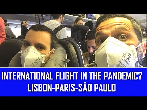 FLYING DURING THE PANDEMIC AIR FRANCE FROM LISBON AIRPORT CONNECTING FLIGHT PARIS  SAO PAULO BRAZIL