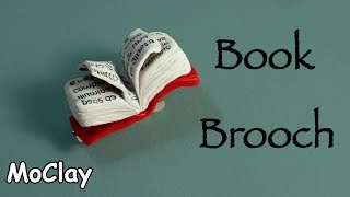 DIY Brooch with book for reading circles - Polymer clay tutorial