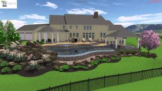 3D Pool Design with swim up bar