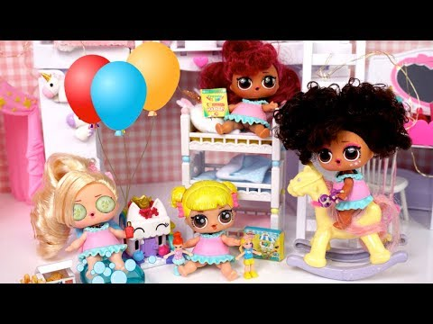 LOL Doll Family  Slumber Party Birthday Evening Routine with Baby Goldie