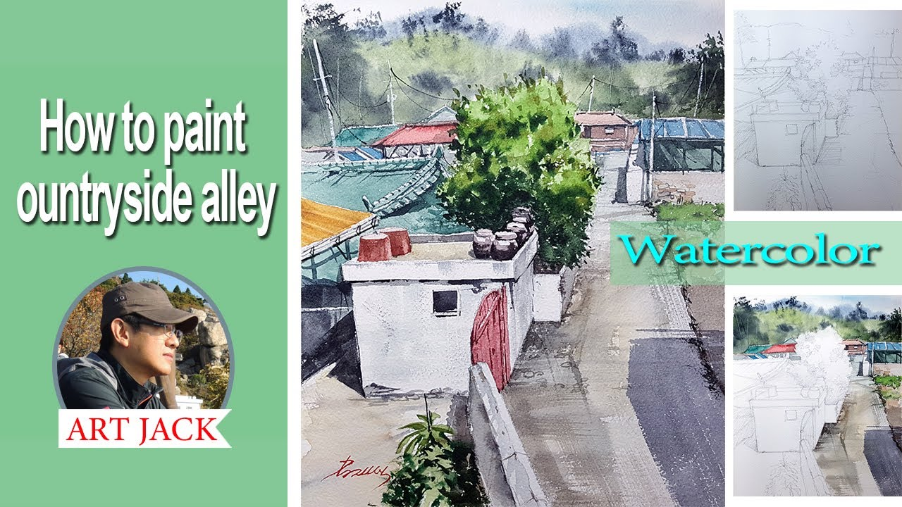 Landscape watercolor | How to paint ountryside alley | Easy tutorial [ART JACK]
