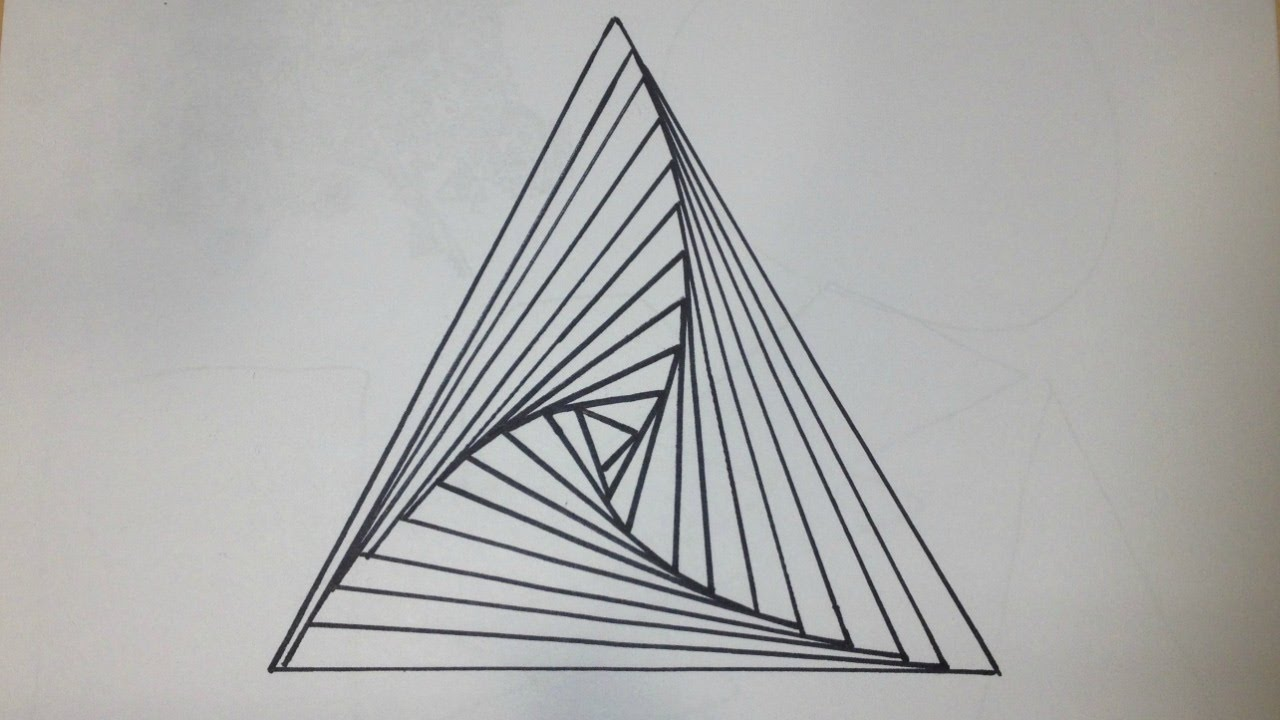 how to draw a triangle spiral abstract drawing 200 subscriber